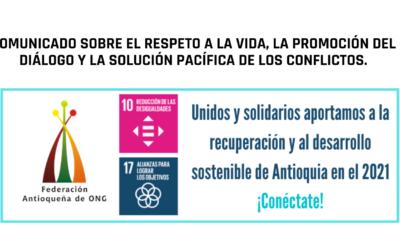 Comunicado sobre el respeto a la vida, la promoción del diálogo y la solución pacífica de los conflictos.